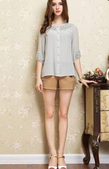 立体花衬衫